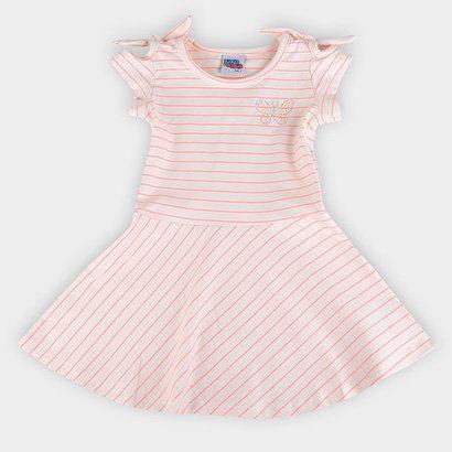 Vestido Bebê Kiko & Kika Cotton Listrado Neon