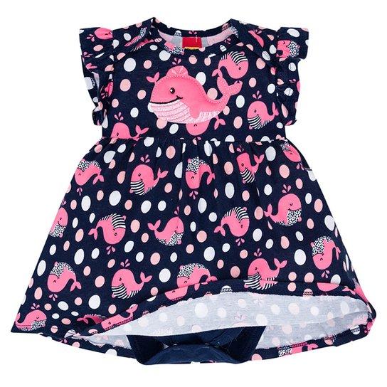 Vestido Bebê Kyly Baleinha C/ Body Interno - Marinho