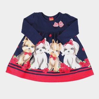 Vestido Bebê Kyly Cotton Dog Manga Longa