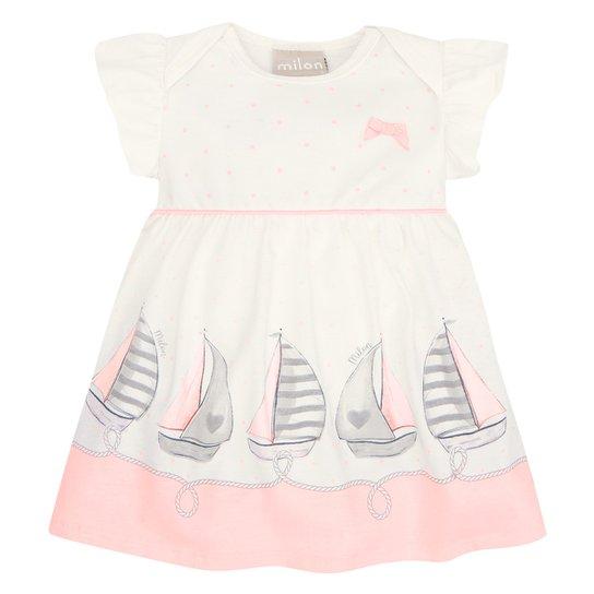 Vestido Bebê Milon Barquinhos + Body Interno - Off White