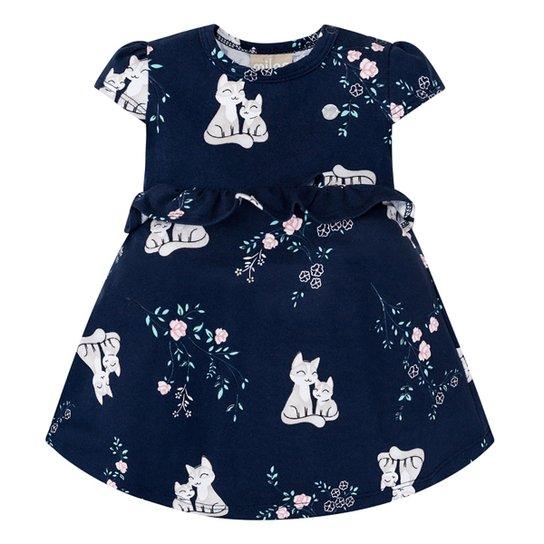 Vestido Bebê Milon Com Body Interno E Babado Cat  - Marinho