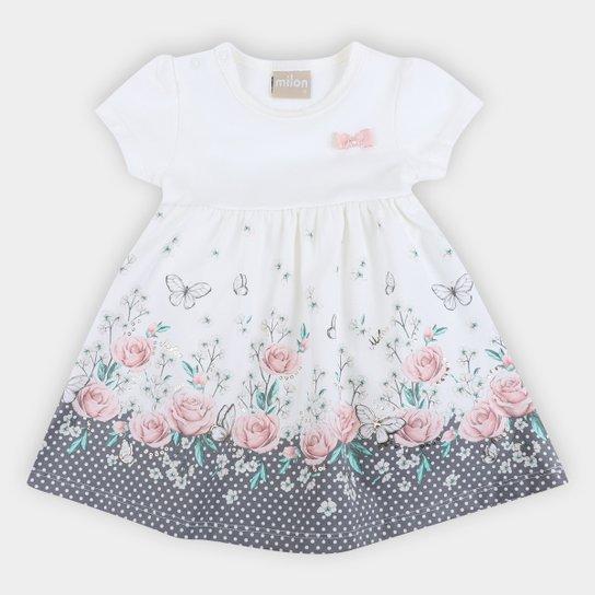 Vestido Bebê Milon Floral Body Interno - Off White