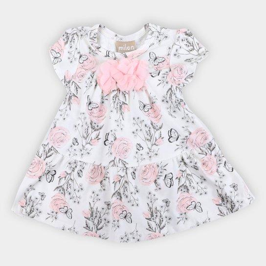 Vestido Bebê Milon Floral Com Body Feminino - Off White