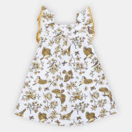 Vestido Bebê Milon Floral Manga Borboleta - Off White