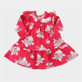 Vestido Bebê Milon Floral Manga Longa Body Embutido