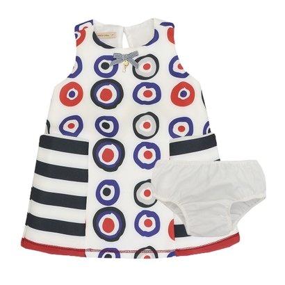 Vestido bebê Neoprene Listras e Bolas com Calcinha