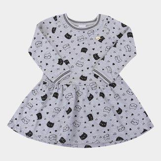 Vestido Bebê Pulla Bulla Manga Longa Gatinho