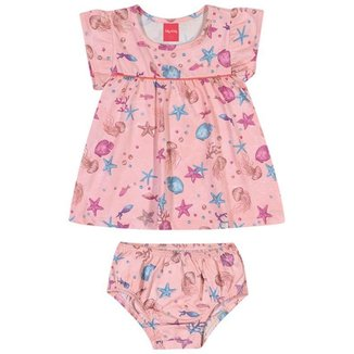 Vestido Bebê Verão, Com Calcinha, Fundo do Mar - Kely & Kety