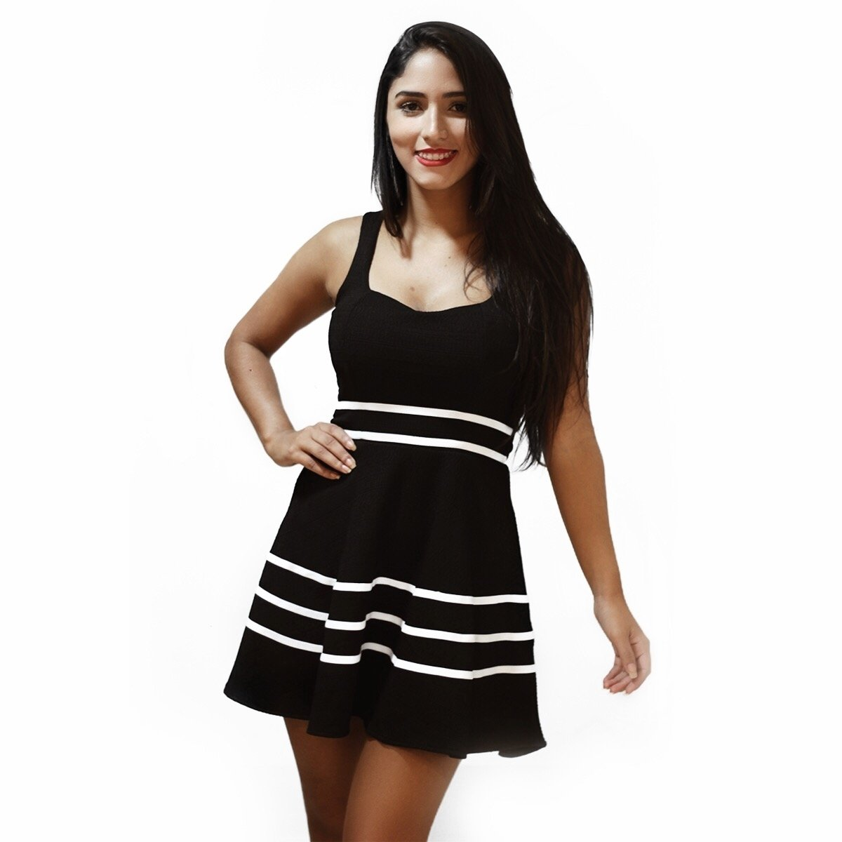 Vestido bicolor preto e rosa