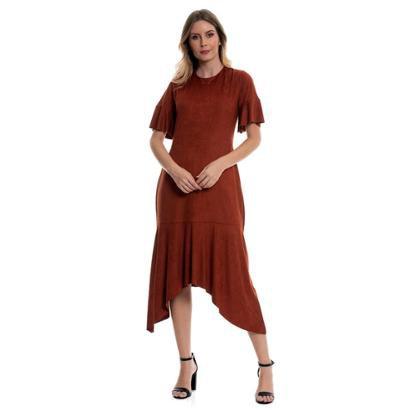 Vestido Bisô Midi Suede Feminino