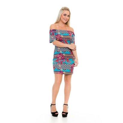Vestido Blankrosê Curto Full Print Ciganinha-Feminino