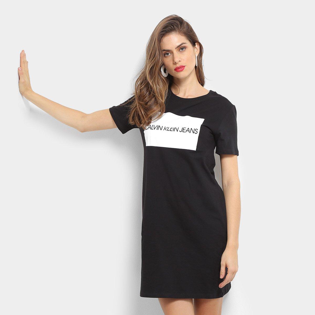 Vestido Calvin Klein Logo Dress T Shirt Zattini