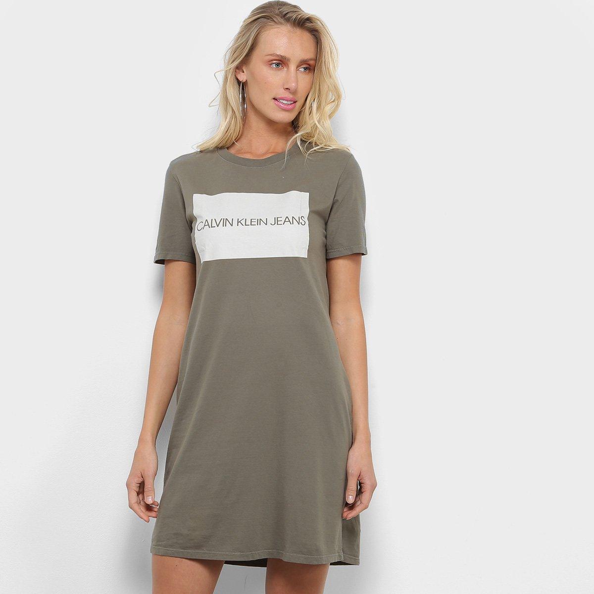 Vestido Calvin Klein Logo Dress T Shirt Oliva