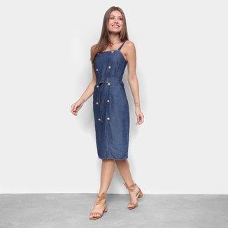Vestido Cambos Midi Com Lastex Detalhes E Botões