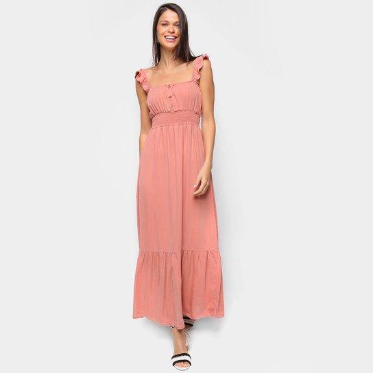Vestido Cambos Midi Longo Babados - Rosa