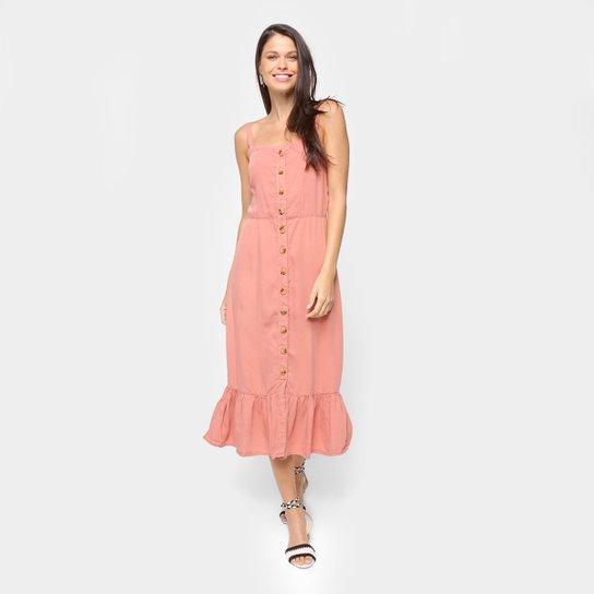 Vestido Cambos Midi Longo Lastex E Botões - Rosa