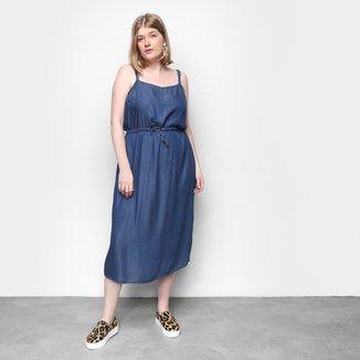 Vestido Cambos Midi Plus Size Com Canaleta E Fenda Lateral