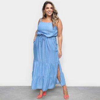 Vestido Cambos Plus Size Midi Com Bolsos