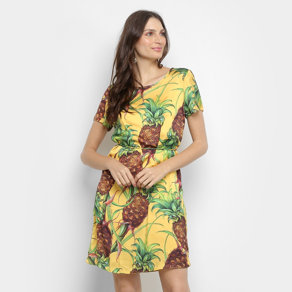 Vestido Camisetão Lança Perfuma Abacaxi Amarelo