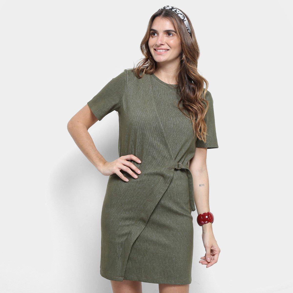 Vestido verde militar tubinho
