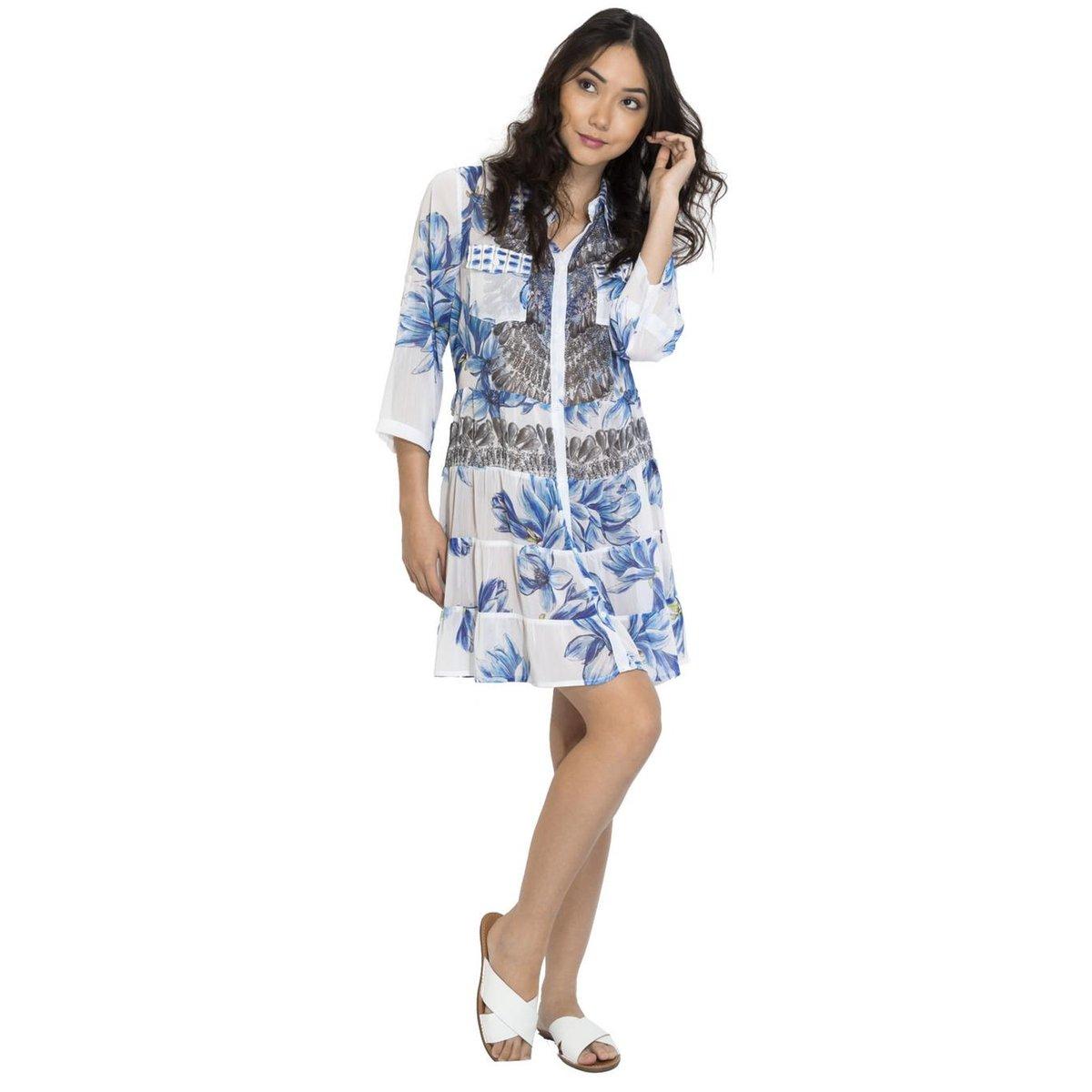Looks com vestido! Preparada para o verão? Confira! - Vestido Chemise 101 Resort Wear - Branco e Azul