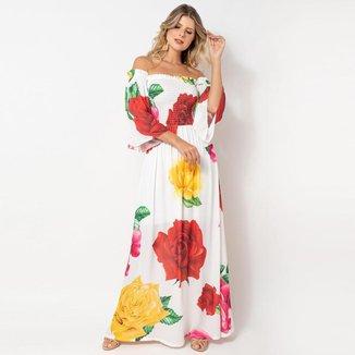 Vestido Ciganinha Elora Estampado Rosas Feminino