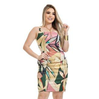 Vestido Clara Arruda Tubinho Decote Quadrado Estampado 50606