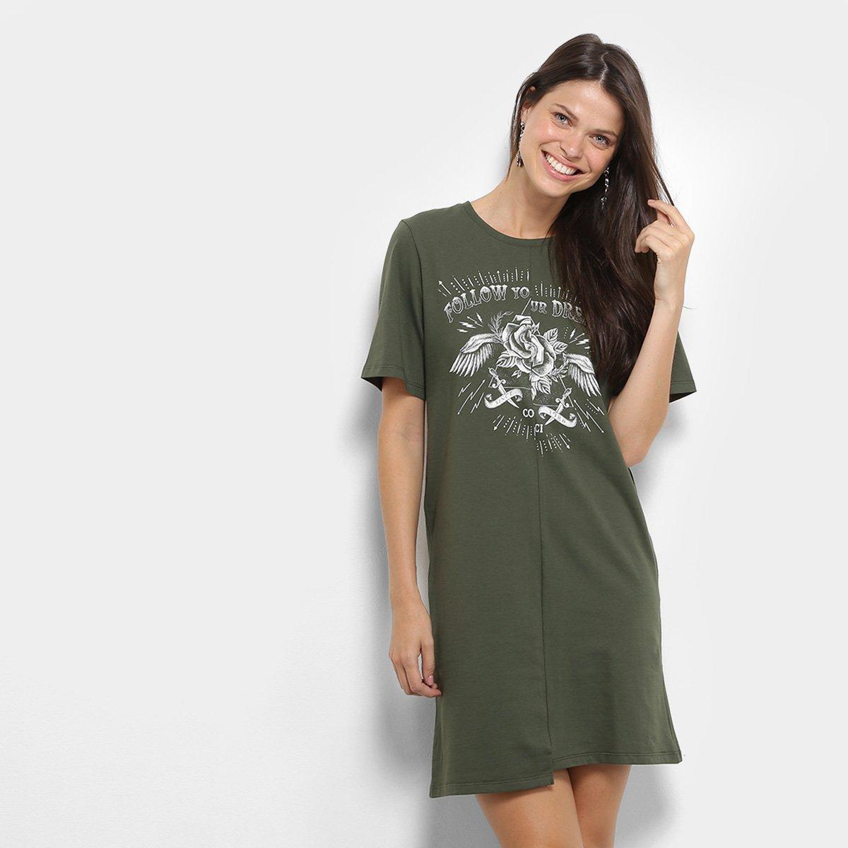 Vestido Colcci Assimétrico Feminino Verde