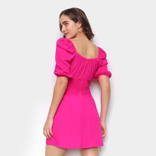 Vestido Colcci Curto Mangas Bufantes - Rosa