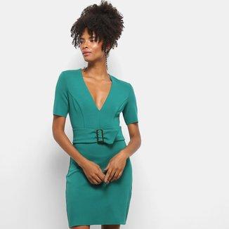 Vestido Colcci Curto Tubinho Decote V Detalhe Cinto