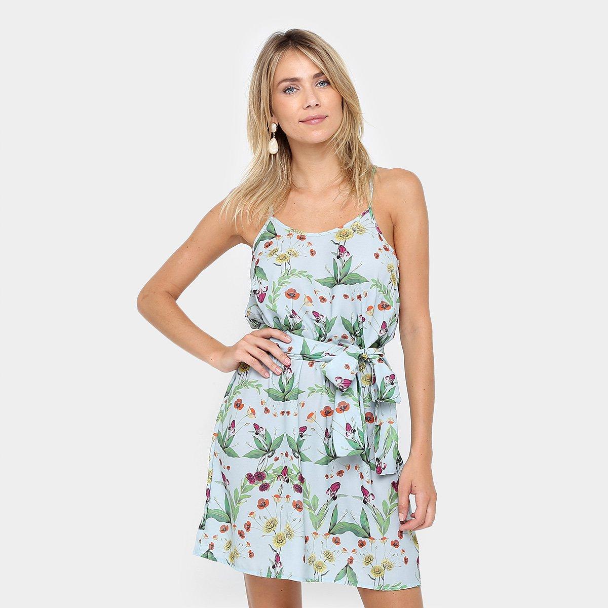 a1682ef77d Vestido Colcci Evasê Curto Floral Amarração - Compre Agora