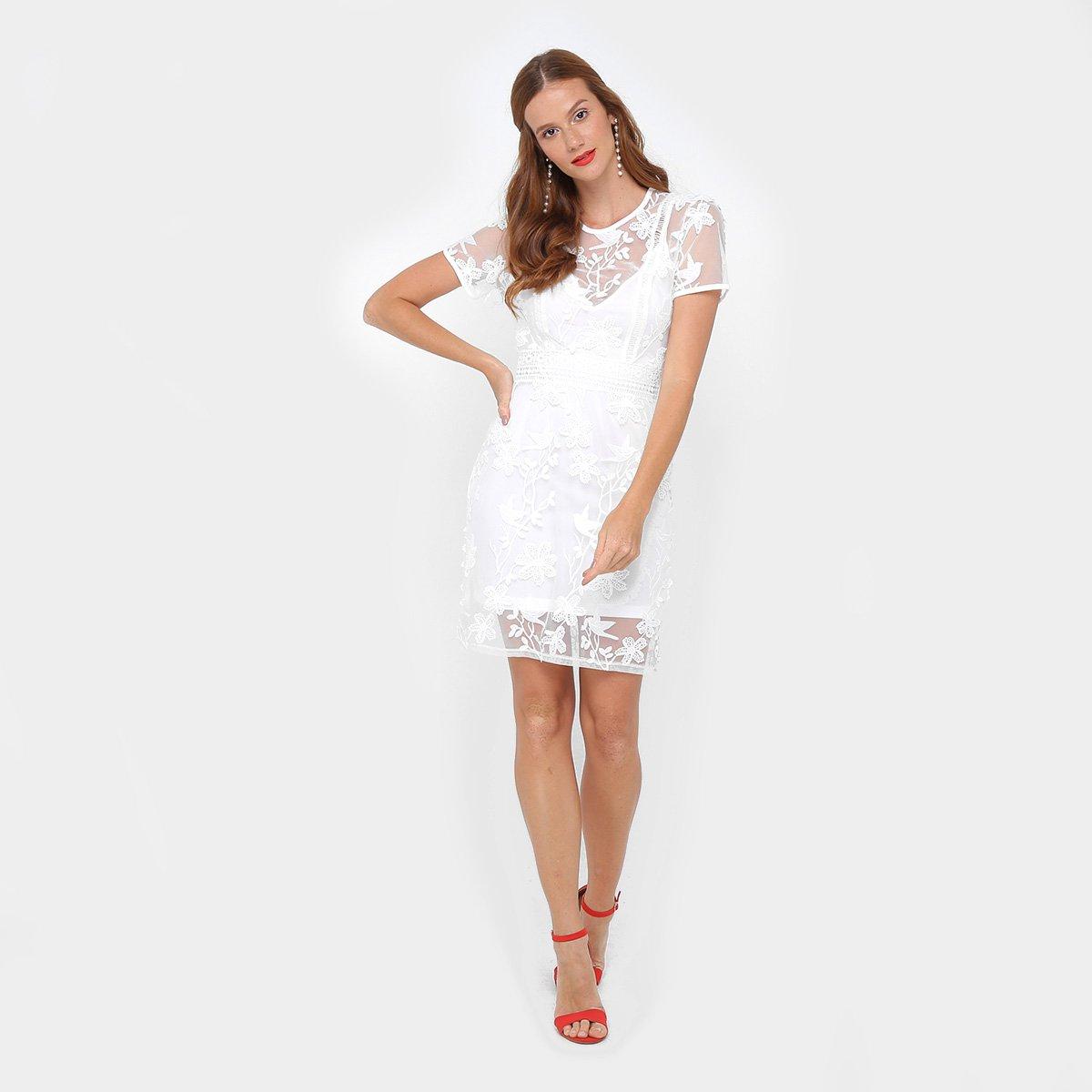 Vestido Colcci Evasê Curto Tule Bordado Com Forro - Compre Agora ... f5a77bae365bb