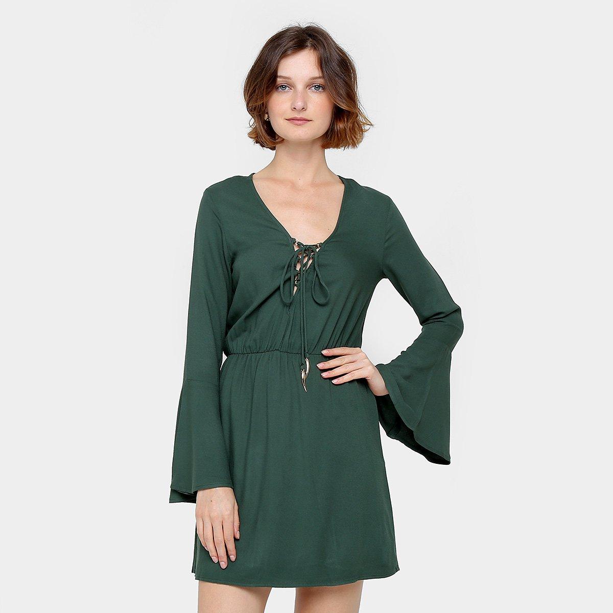 Vestido verde militar manga longa