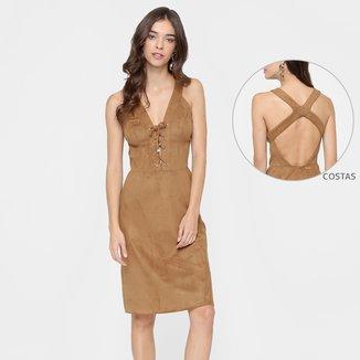Vestido Colcci Midi De Suede Decote Costas