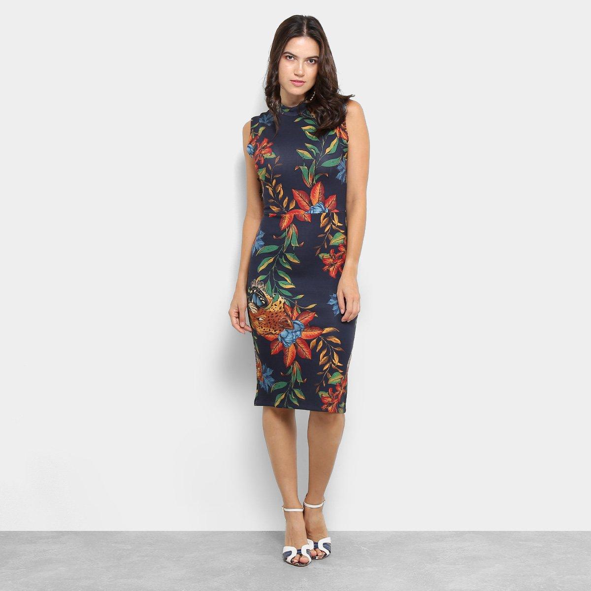 66c55299e Vestido Colcci Midi Estampa Floral Feminino - Azul Escuro - Compre Agora