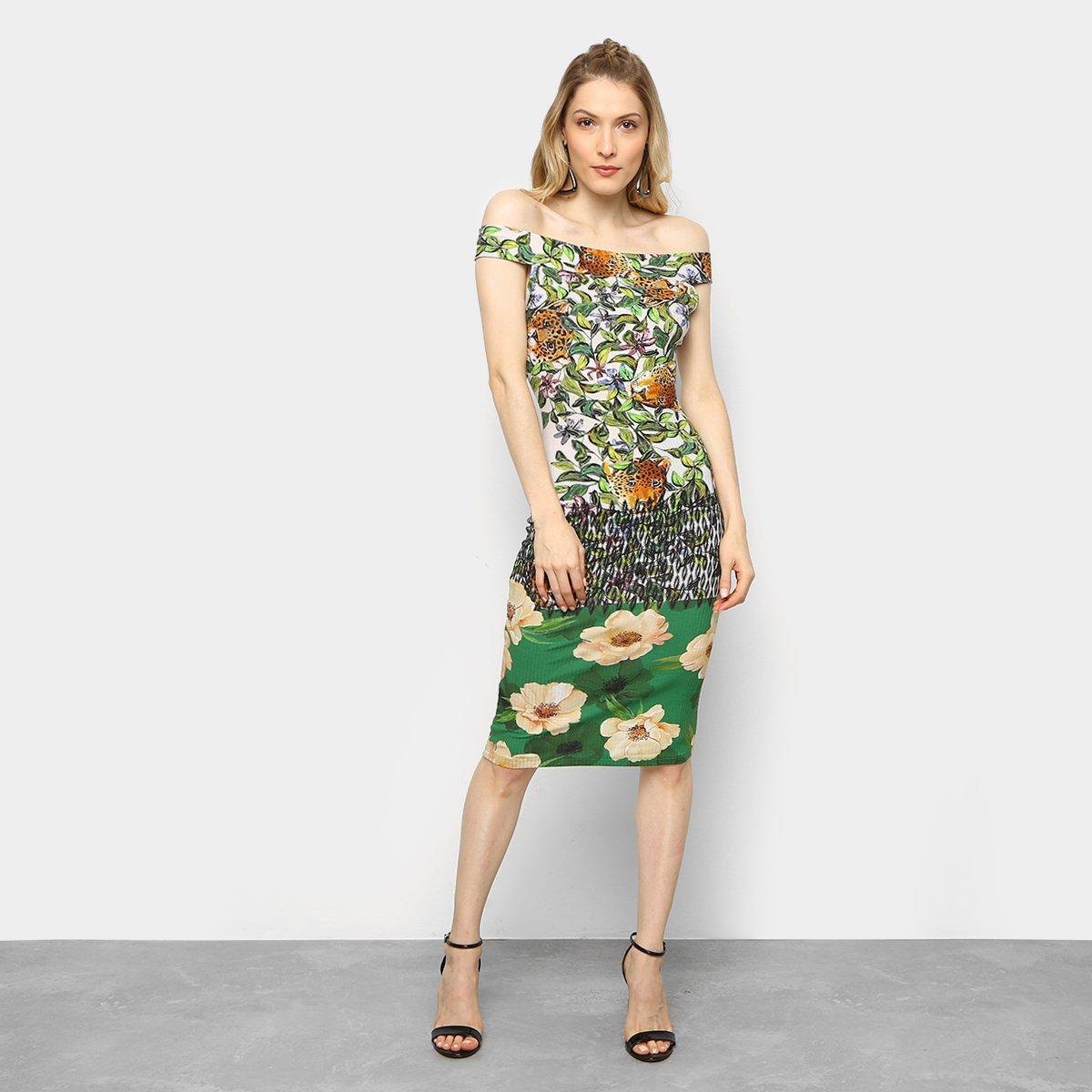 Vestido colcci estampado verde
