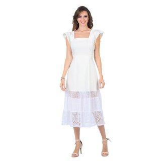 Vestido Com Renda Na Barra Midi Liso Off White