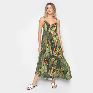 Vestido Cropped Farm Folhagem Paraíso Feminino