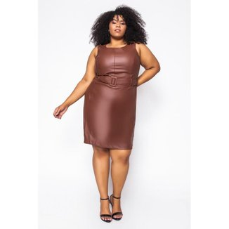 Vestido Curto Almaria Plus Size Sinap Couro Feminino