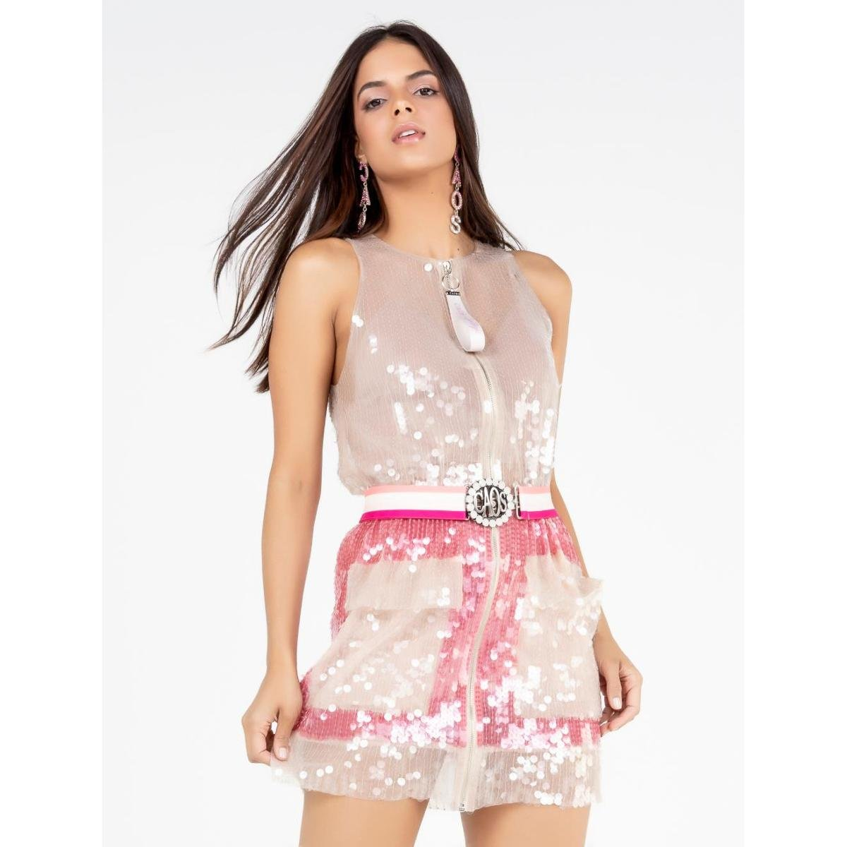 Vestido Curto De Tule Com Paetê - Rosa e Bege
