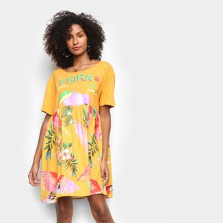 Vestido Curto Farm Feira Voo Colorido Feminino