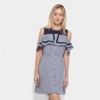 Vestido Curto Lilly Fashion Xadrez Open Shoulder