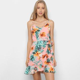 Vestido Curto Lily Fashion Estampado Babado Amarração