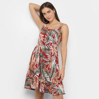 Vestido Curto Lily Fashion Folhagem C/ Botões