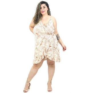 Vestido Curto Plus Size Floral Florido Transpassado Alcinha