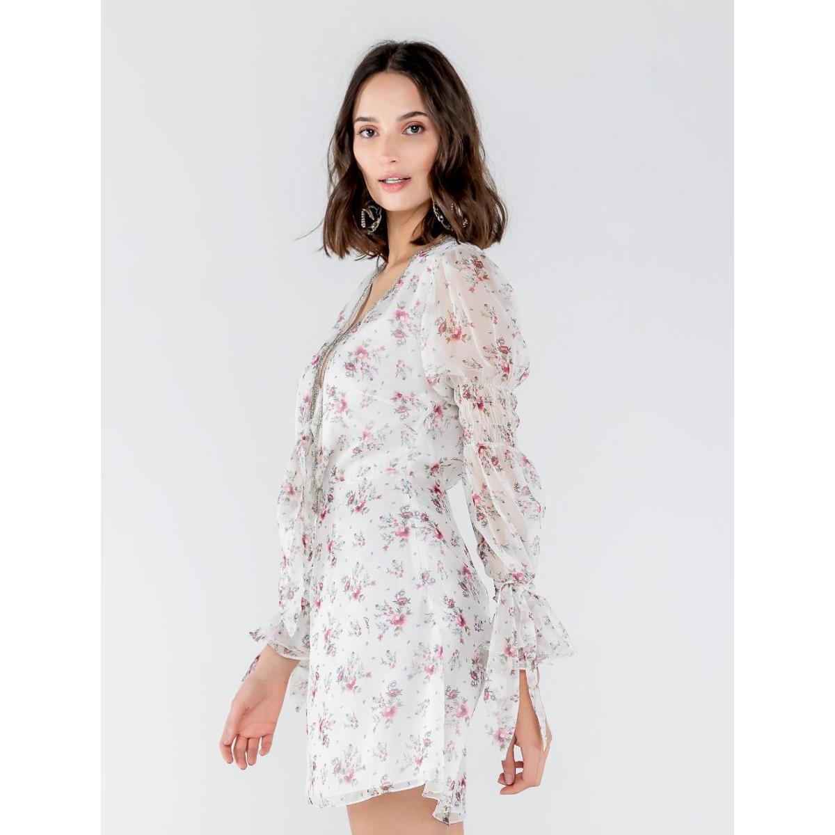 Vestido Curto Transparence Com Bordado Estampa Mix - Branco e Rosa