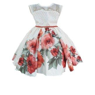 Vestido De Festa Infantil Com Flores Giovanella Feminino