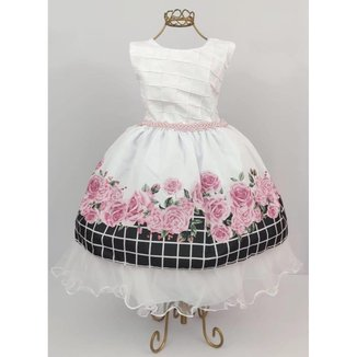 Vestido de Festa Infantil Floral Xadrez Feminino