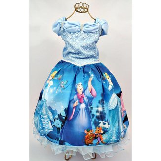 Vestido de Festa Infantil Temático Cinderela Luxo Feminino