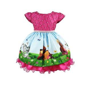 Vestido de Festa Infantil Temático Masha e o Urso Luxo Feminino
